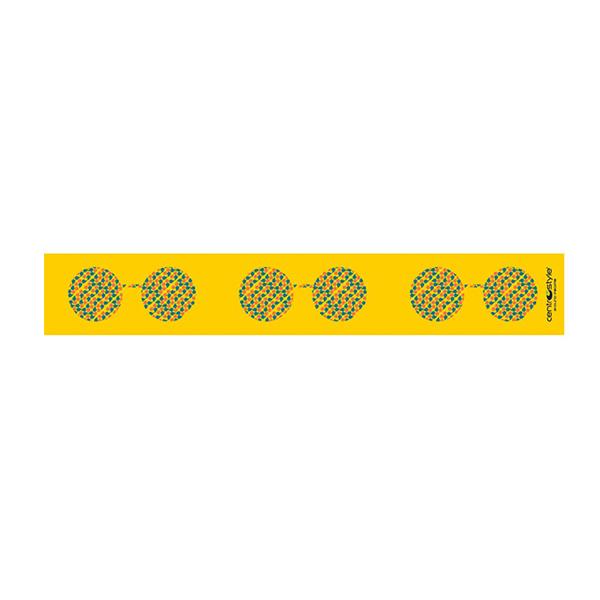 "Floor Decal, ""Eyeglasses"" Yellow Strip, 3.25' x 2.5"""
